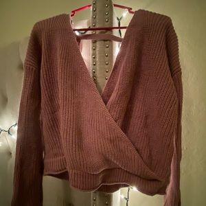 Purple low cut sweater